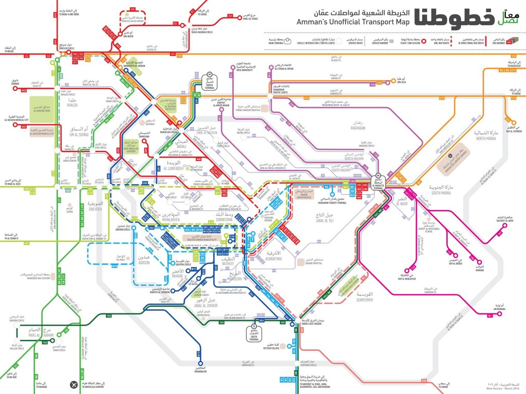 Amman's Public Transport Map