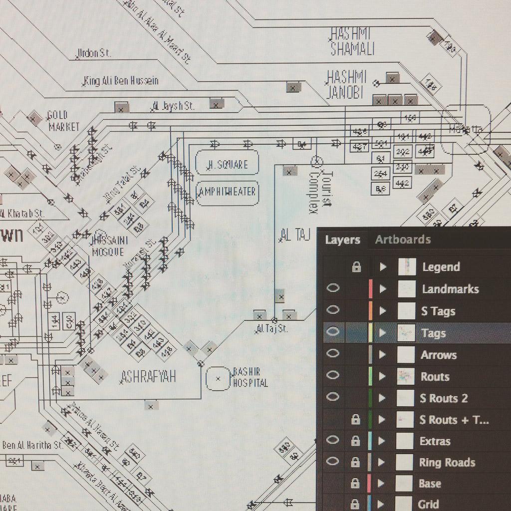 Amman Transport Map Outline